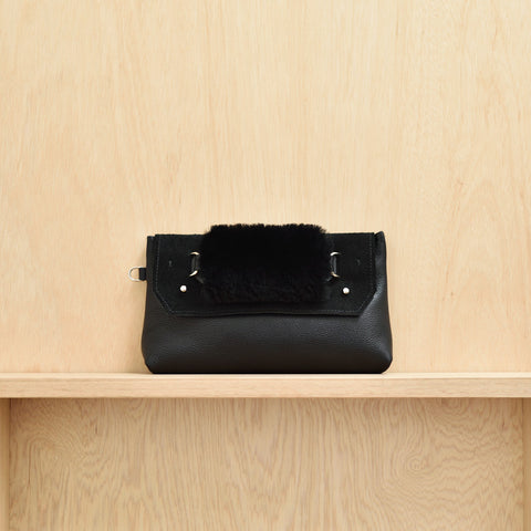 Clutch Bag - Black leather and suede, sheep skin handle