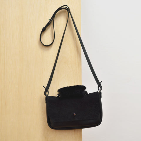 Cross Body Bag - Black leather and suede, sheep skin handle