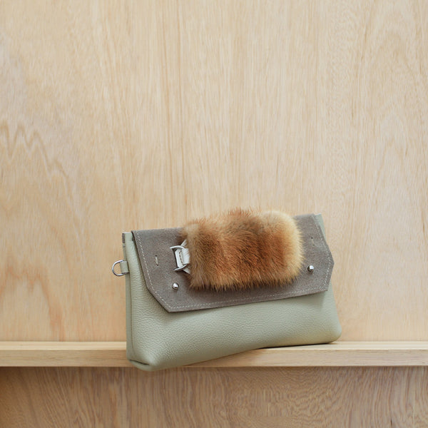 Clutch Bag - Bone leather, fawn suede and vintage fur handle