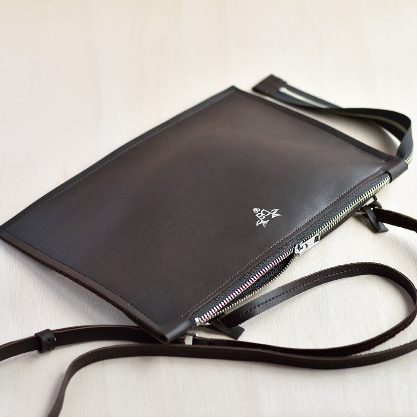 Cross Body Zip Pouch - Chocolate Brown Leather and Chocolate Felt