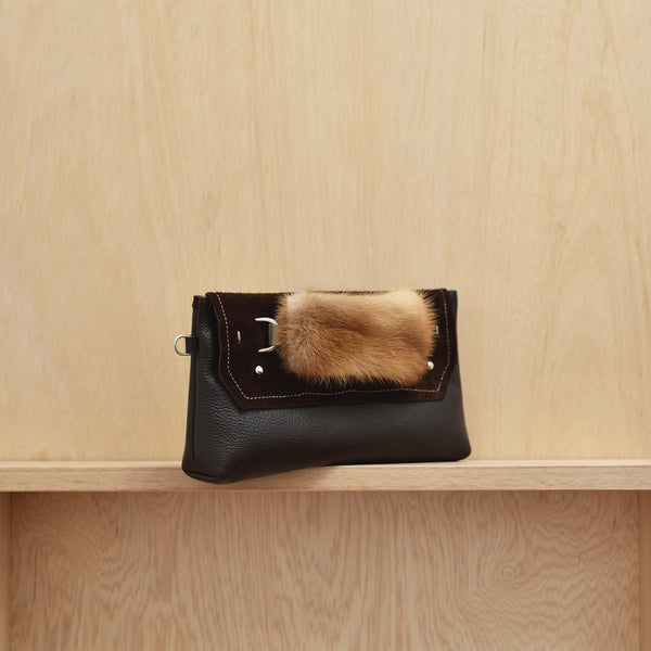 Clutch Bag - Chocolate leather, suede and vintage fur handle