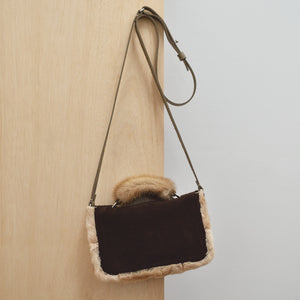 Cross Body Bag - Chocolate leather, suede and vintage fur