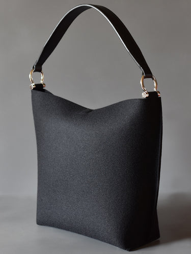 DoBo Bucket Bag - Black Felt with Black Leather Handle