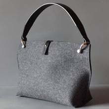 DoBo Handbag - Charcoal Grey Felt with Black Leather Handle