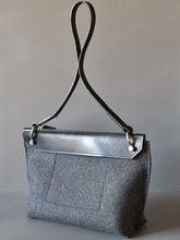 DoBo Handbag - Charcoal Grey Felt with Black Leather Strap