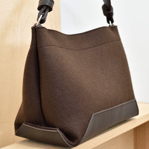 DoBo HoBo Handbag - Chocolate Felt and Chocolate Leather