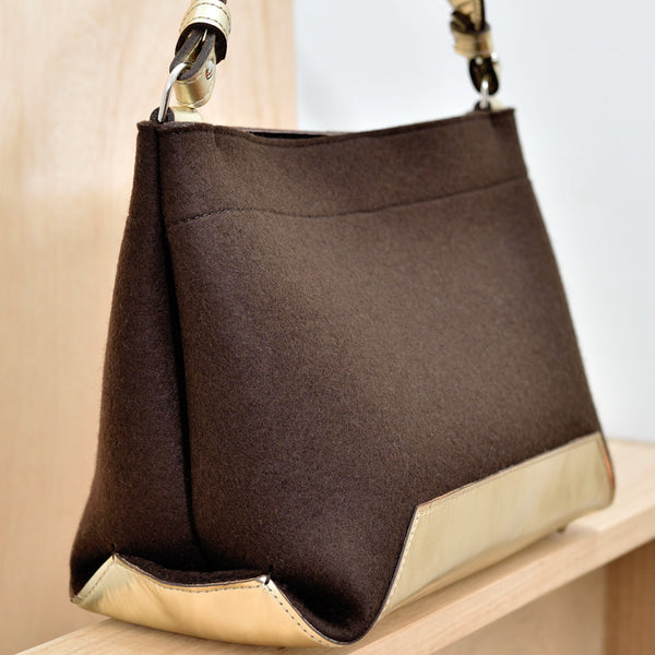 DoBo HoBo Handbag - Chocolate Felt and Gold Leather