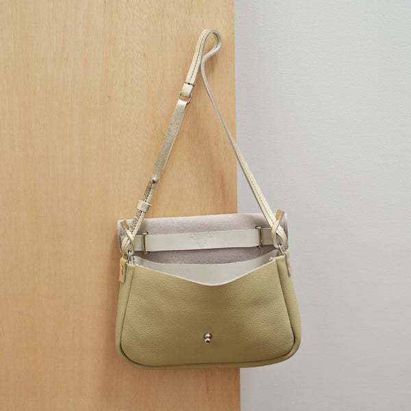Shoulder Bag - Bone and White Gold