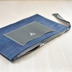 Zip Pouch - Navy Suede and Navy Canvas
