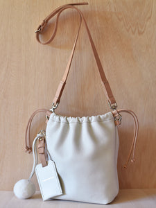 Drawstring Bag - Ivory and Natural Tan