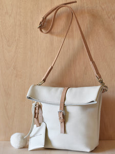 Fold Top Bag - Ivory and Natural Tan