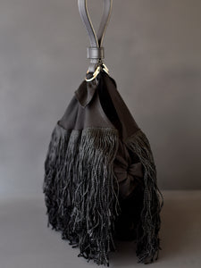 DoBo Evening Bag - Fringe Pouch with Grained Leather Strap