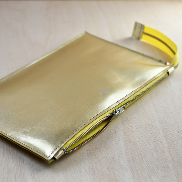 Zip Pouch - Gold Leather and Lime Canvas