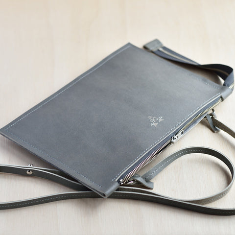 Cross Body Zip Pouch - Grey Leather and Grey Felt