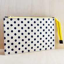 Zip Pouch - Grey Leather and Navy Spot Canvas
