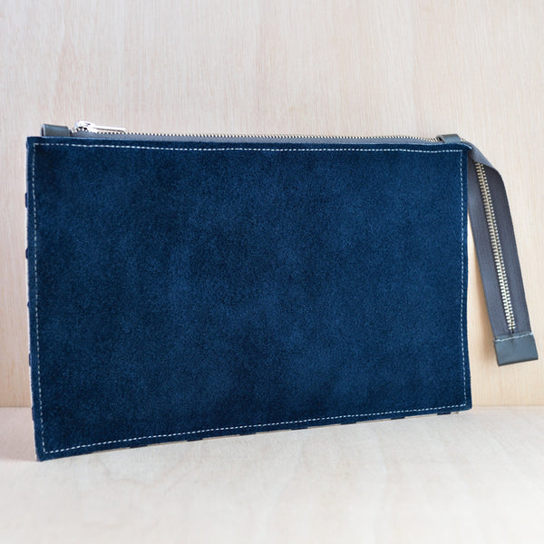 Zip Pouch - Navy Suede and Navy Spot Canvas