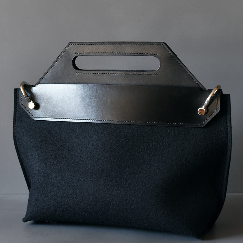 DoBo Handbag - Black Felt with Hard Leather Handle