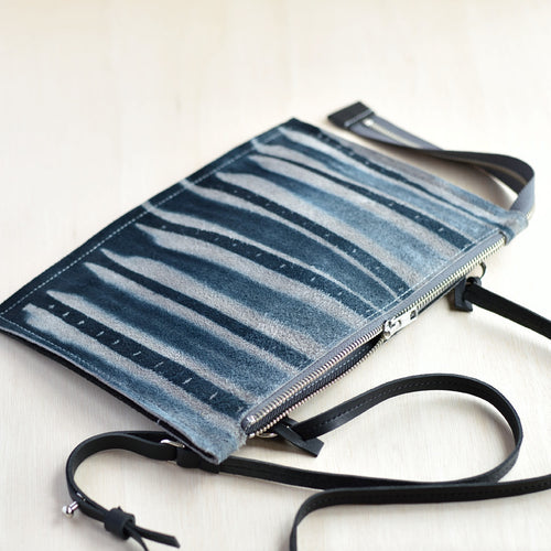 Cross Body Zip Pouch -Indigo Grey and Black Felt