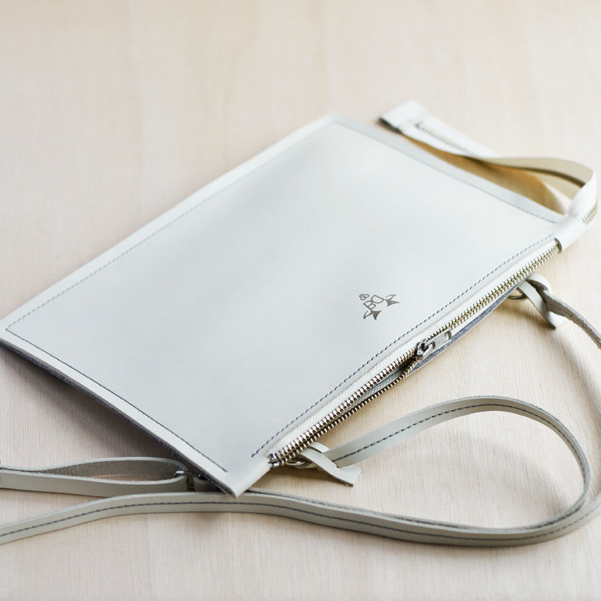 Cross Body Zip Pouch - Ivory Leather and Grey Felt