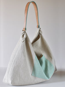 Large Linen Patch Pocket Bag