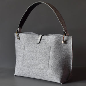DoBo Handbag - Light Grey Felt with Mock Snake Leather Handle
