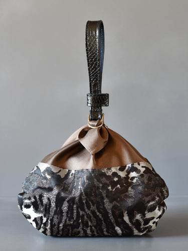 DoBo Evening Bag - Silk Pouch with Mock Snake Leather Strap