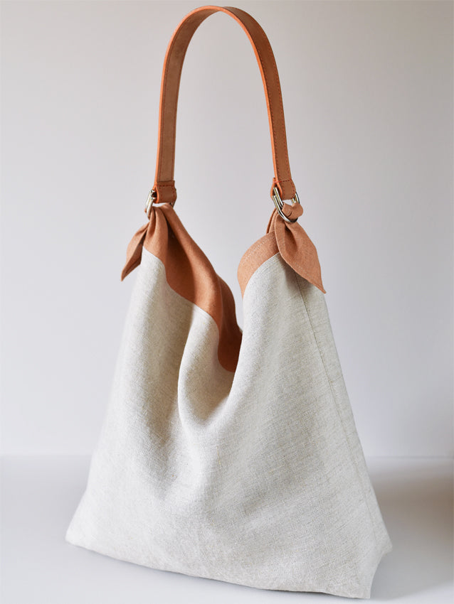 Linen Market Tote - Orange Top