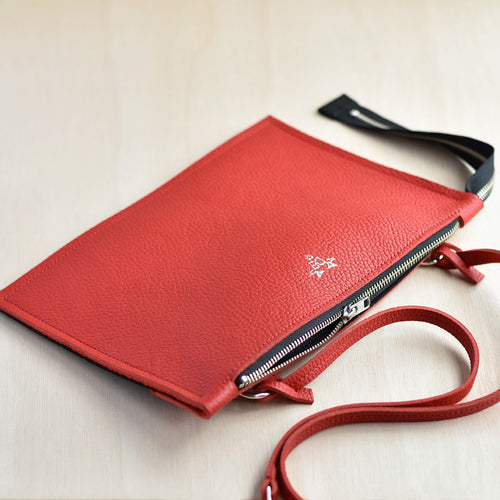 Cross Body Zip Pouch - Red Leather and Black Felt