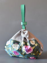 DoBo Evening Bag - Silk Pouch with Teal Grained Leather Strap
