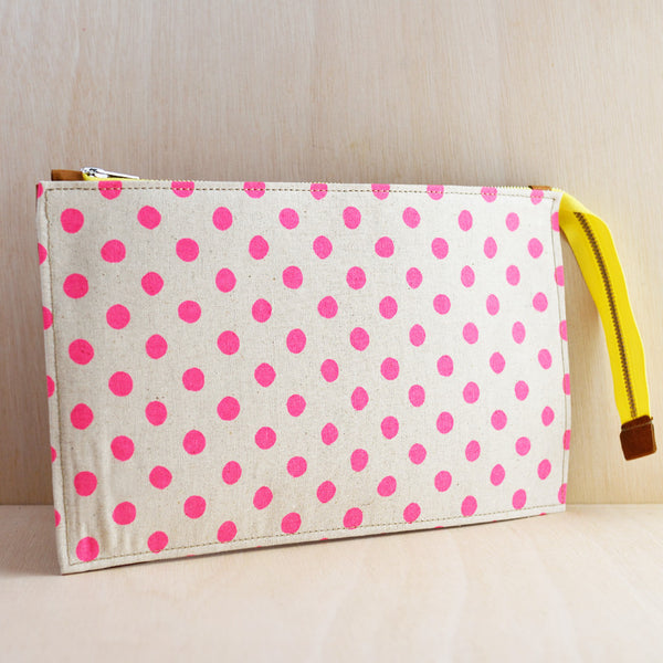 Zip Pouch - Tan Leather and Pink Spot Canvas
