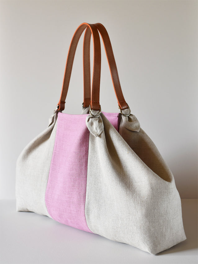 Linen Twin Handle Beach Bag