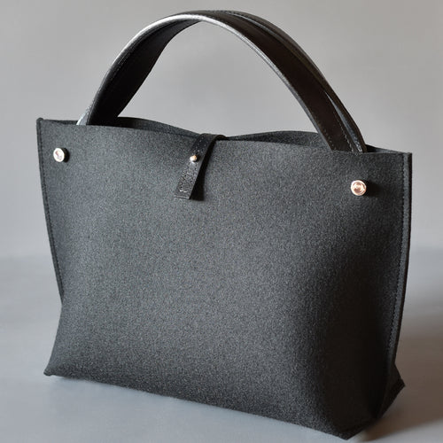 DoBo Handbag - Black Felt with Black Leather Twin Handles