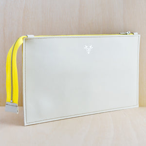 Zip Pouch - White Leather and White Spot Canvas
