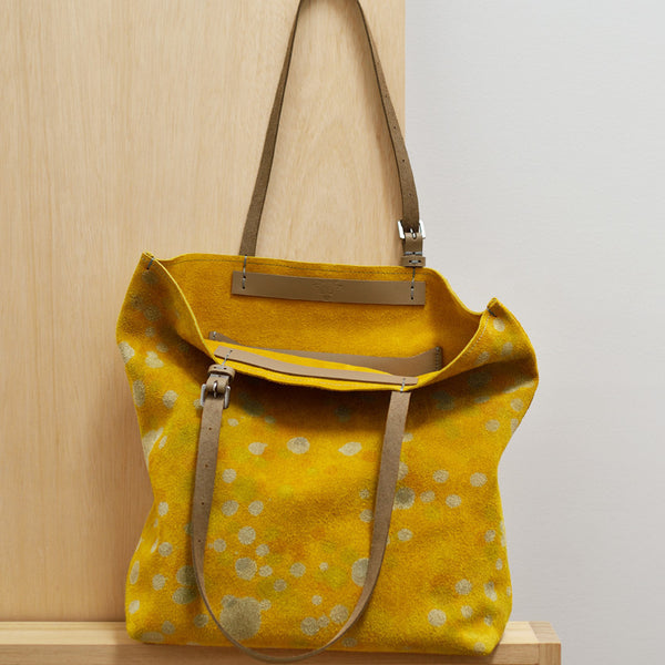 Tote bag - Canary Yellow Spot Dyed Suede