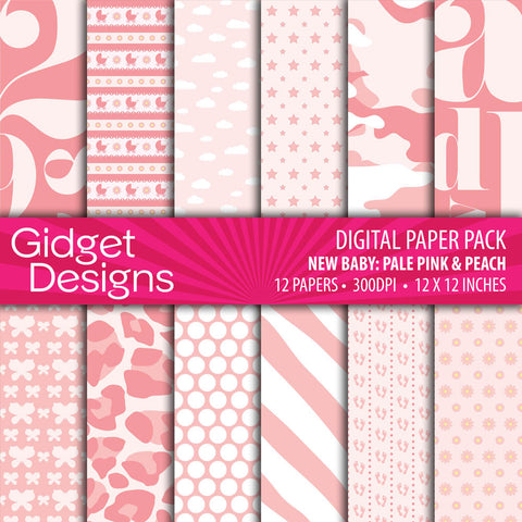 Digital Paper Pack New Baby Pale Pink & Peach  - 1