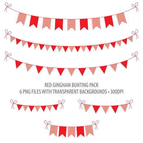 Printable Red Gingham Bunting