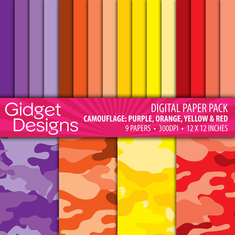 Digital Paper Pack Camouflage Purple, Orange, Yellow and Red  - 1