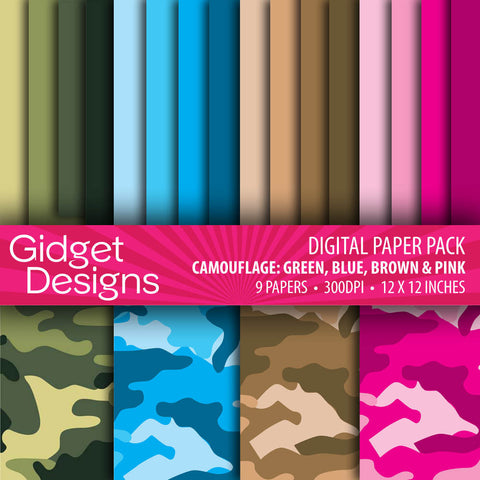 Digital Paper Pack Camouflage Green, Blue, Brown and Pink  - 1