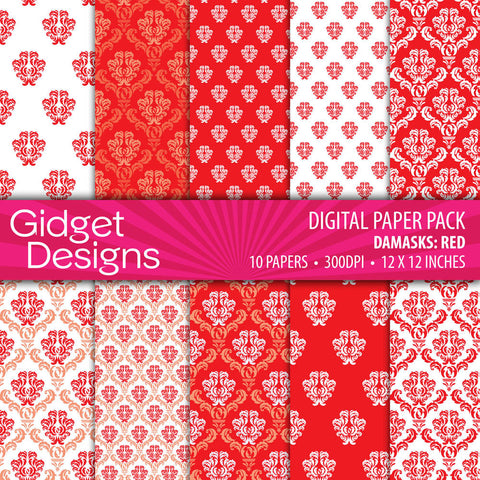 Digital Paper Pack Red Damasks  - 1