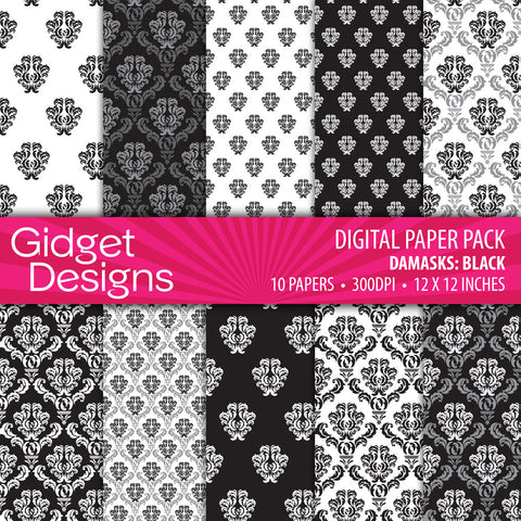 Digital Paper Pack Black Damask Bumper Pack Monochrome  - 1