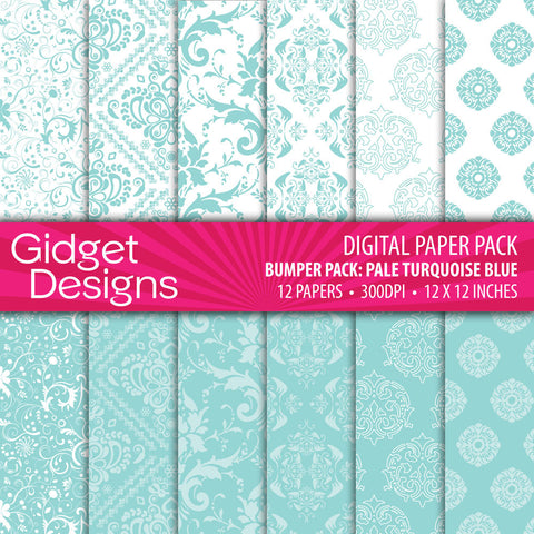 Digital Paper Pack Bumper Pack Pale Turquoise Blue  - 1