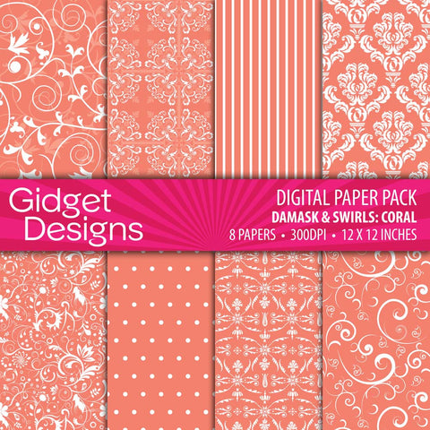 Digital Paper Pack Damask & Swirls Coral  - 1
