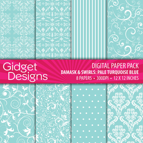 Digital Paper Pack Damask & Swirls Pale Turquoise Blue  - 1