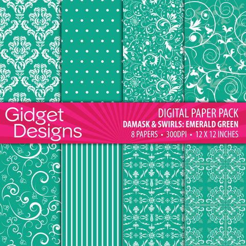 Digital Paper Pack Damask & Swirls Emerald Green  - 1