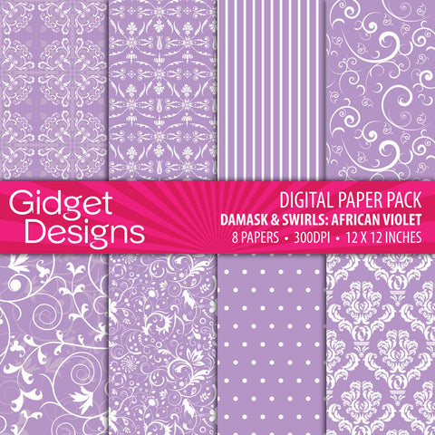 Digital Paper Pack Damask & Swirls African Violet  - 1
