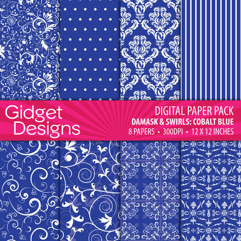 Digital Paper Pack Damasks & Swirls Cobalt Blue  - 1