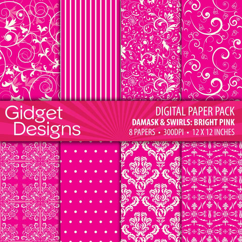 Digital Paper Pack Damask & Swirls Bright Pink  - 1