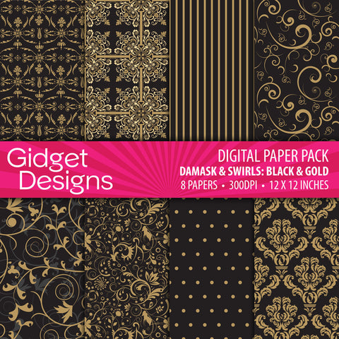 Digital Paper Pack Damask & Swirls Black & Gold  - 1