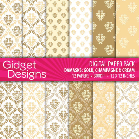 Digital Paper Pack Damask Gold, Champagne & cream  - 1