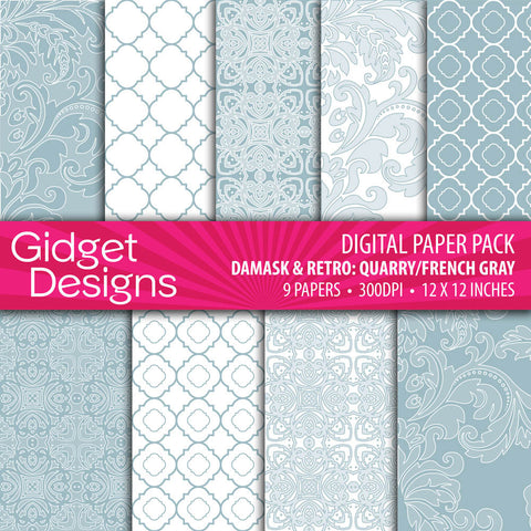 Digital Paper Pack Damask & Retro Quarry French Gray  - 1